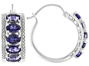 Purple Iolite Rhodium Over Sterling Silver Hoop 5- Stone Earrings 3.98ctw