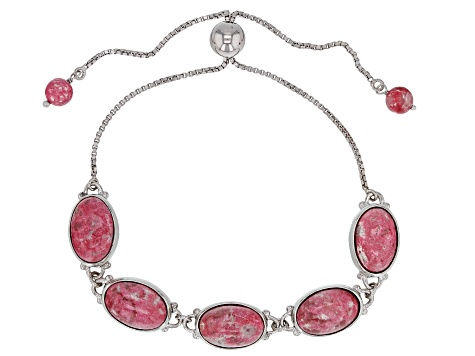 Pink Thulite Rhodium Over Silver Bolo Bracelet