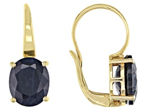 Blue Sapphire 18k Yellow Gold Over Sterling Silver Earrings 6.00ctw