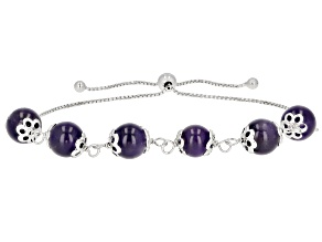 "Round Amethyst Bead Rhodium Over Sterling Silver Bolo Bracelet Adjusts Approximately 6""-9"""