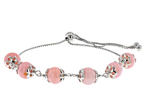 """8mm Round Pink Opal Bead Rhodium Over Sterling Silver Bolo Bracelet Adjusts Approximately 6""""-9"""""""