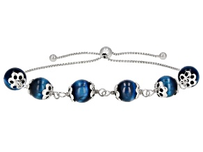 Blue Tigers Eye Bead Rhodium Over Sterling Silver Bolo Bracelet
