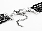 Black Spinel Rhodium Over Silver Bead Necklace 120.00ctw