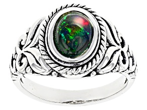 Black Ethiopian Opal Sterling Silver Solitaire Ring .60ct