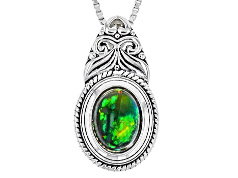 Black Ethiopian Opal Sterling Silver Slide With Chain .60ct