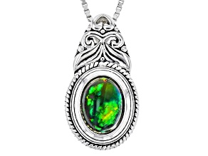Black Ethiopian Opal Sterling Silver Pendant With Chain .60ct