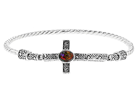 Black Ethiopian Opal Sterling Silver Cross Bangle Bracelet .60ct