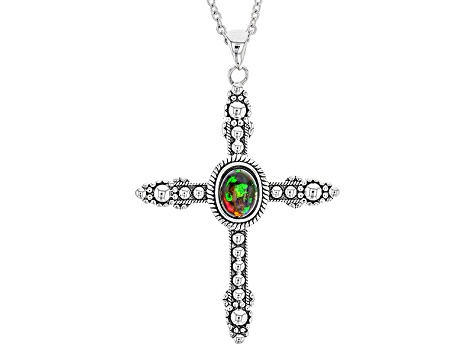 Black Ethiopian Opal Sterling Silver Cross Pendant With Chain .60ct
