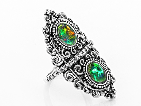 Black Ethiopian Opal Sterling Silver 2-Stone Ring 1.79ctw