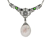 Various Colored Brazilian Tourmaline in Quartz Matrix Silver Necklace .81ctw