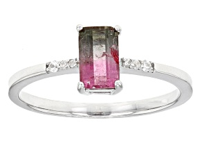 Bi-Color Tourmaline Sterling Silver Ring 1.12ctw