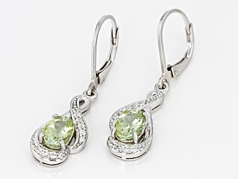 Green Amblygonite Sterling Silver Earrings 1.53ctw