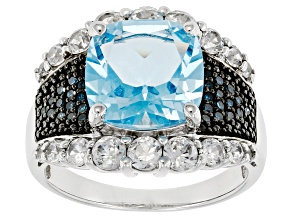 Sky Blue Topaz Sterling Silver Ring 5.61ctw