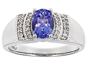 Blue Tanzanite Rhodium Over Sterling Silver Ring 1.01ctw