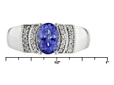 Blue Tanzanite Sterling Silver Ring 1.01ctw