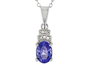 Blue Tanzanite Sterling Silver Pendant With Chain .90ctw