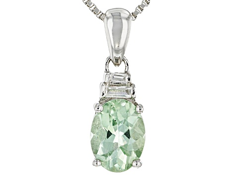 Green Amblygonite Sterling Silver Pendant With Chain 1.12ctw