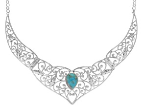 Blue Turquoise Sterling Silver Solitaire Necklace