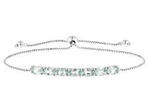 Green Ambligonite Sterling Silver Adjustable Bolo Bracelet 2.56ctw