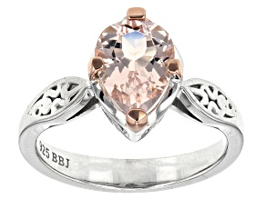 Pink Morganite Sterling Silver Solitaire Ring 1.44ct