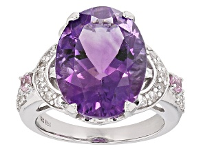 Purple Amethyst Sterling Silver Ring 7.91ctw