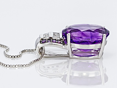 Purple Moroccan Amethyst Silver Pendant With Chain 7.51ctw