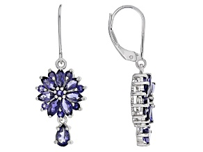 Blue Iolite Sterling Silver Dangle Earrings 2.68ctw