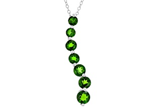 Green Chrome Diopside Silver Journey Pendant With Chain 2.40ctw