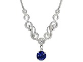 Blue Lab Created Yag Sterling Silver Necklace 2.74ctw