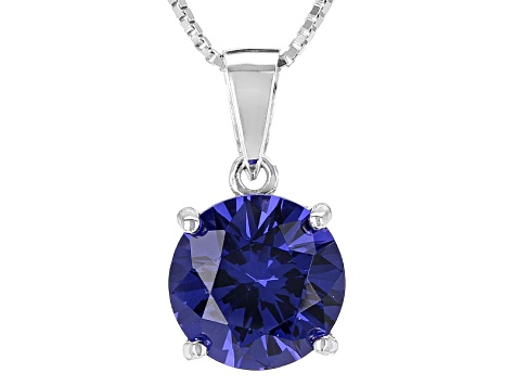 Blue Lab Created Yag Sterling Silver Pendant With Chain 4.30ct