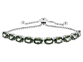 Green Labradorite Sterling Silver Sliding Adjustable Bracelet 5.81ctw