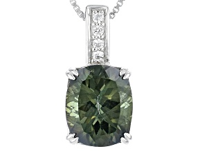 Green Labradorite Sterling Silver Pendant With Chain 3.32ctw