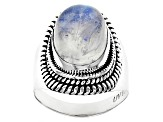 White Moonstone Rhodium Over Sterling Silver Ring