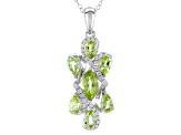 Green Peridot Sterling Silver Pendant With Chain 1.95ctw