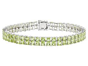 Green Peridot Sterling Silver Bracelet 14.10ctw