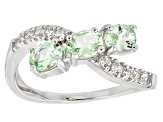 Green Mint Tsavorite Sterling Silver Crossover Ring 1.28ctw