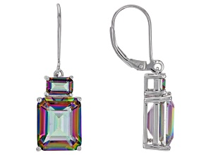 Multi-Color Quartz Rhodium Over Silver Dangle Earrings 11.25ctw