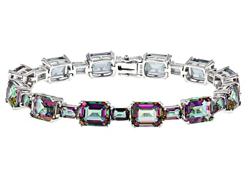 Picture of Multicolor Quartz Rhodium Over Sterling Silver Bracelet 37.81ctw