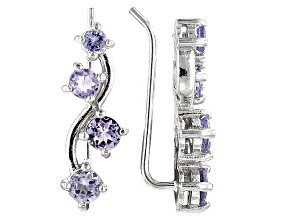 Blue Tanzanite Rhodium Over Sterling Silver Climber Earrings .94ctw