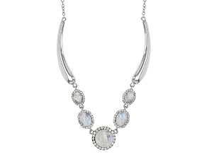 White Rainbow Moonstone Sterling Silver Necklace .92ctw