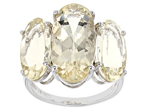 Yellow Labradorite Sterling Silver Ring 10.91ctw