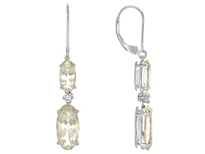 Yellow Labradorite Sterling Silver Dangle Earrings 6.29ctw