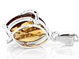 Brown Champagne Quartz Sterling Silver Pendant With Chain 8.42ctw