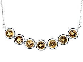 Brown Champagne Quartz Sterling Silver Necklace 18.55ctw