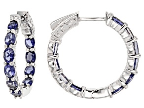 Blue Iolite Sterling Silver in/Out Hoop Earrings 2.55ctw