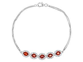 Red Sapphire Sterling Silver Bracelet 3.15ctw