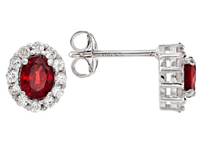 Red Sapphire Sterling Silver Earrings 1.26ctw