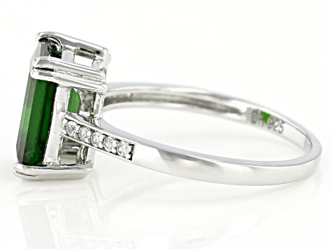 Green Chrome Diopside Rhodium Over Sterling Silver Ring 3.15ctw