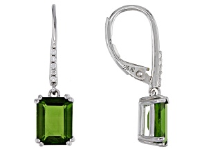 Green Chrome Diopside Rhodium Over Silver Earrings 3.04ctw