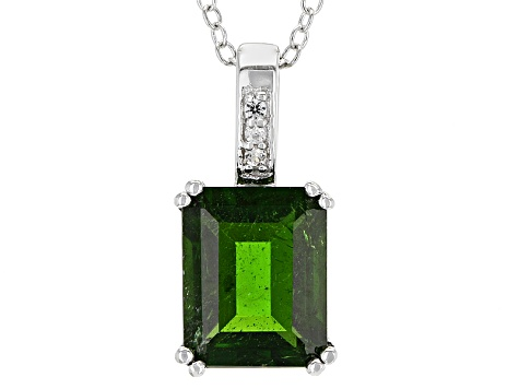 Green Chrome Diopside Sterling Silver Pendant With Chain 3.06ctw